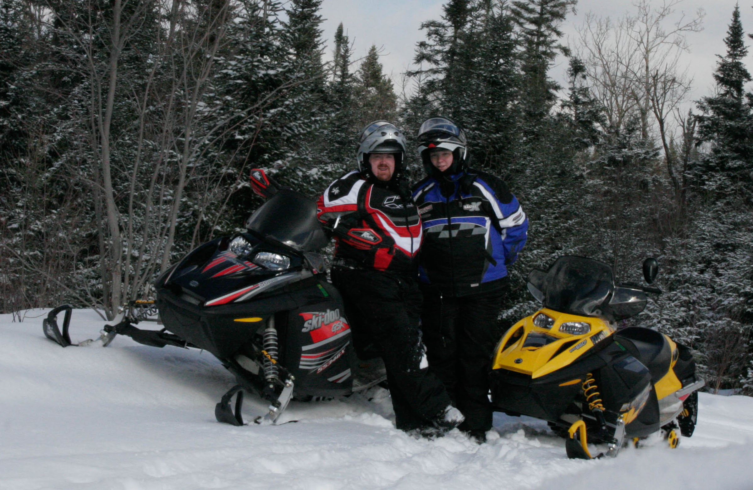 Christine & Geo Snowmobiling in VT